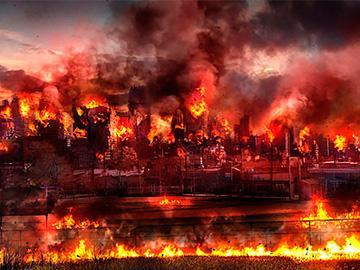 горящий город